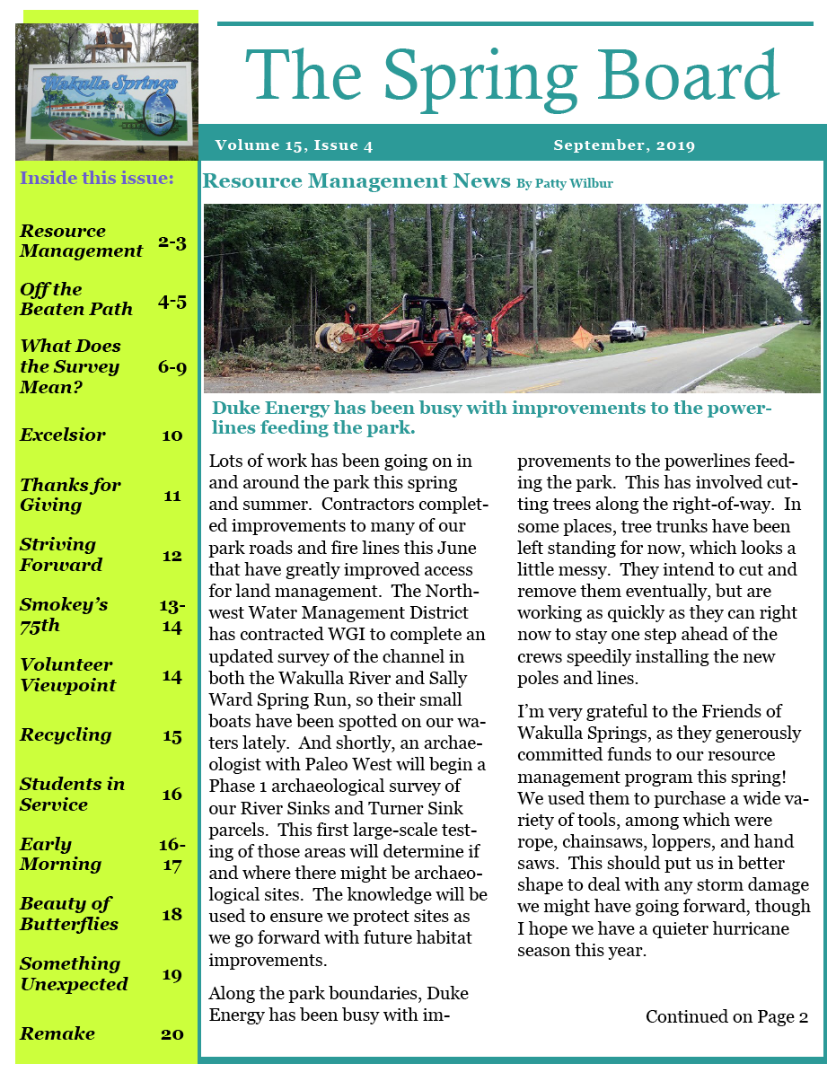 The Spring Board Wakulla Springs Newsletter
